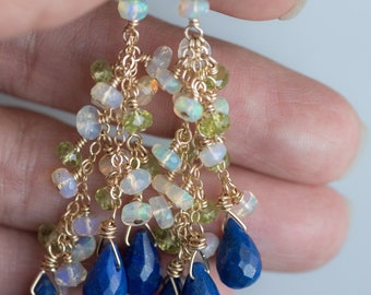 Lapis Lazuli Earrings Gold/Gold Statement Earrings/Ethiopian Opal Earrings/Peridot Earrings/Big Gemstone Earrings/Cluster Gemstone Earrings