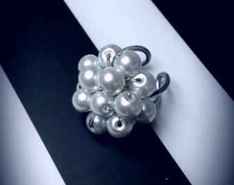 Pearl White Cluster. Handmade wire wrapped adjustable ring