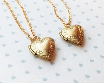 Tiny Heart Locket Necklace / Little Heart Locket necklace / Lockets for Girls / Tiny Gold Locket