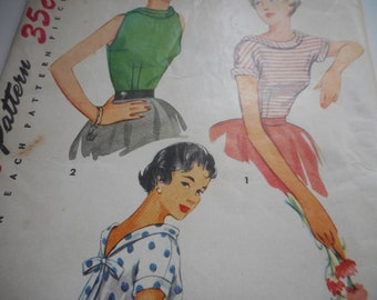 Vintage 1950's Simplicity 4645 Blouses Sewing Pattern Size 16 Bust 34
