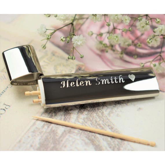 Like this item?  sc 1 st  Etsy & Engraved Silver-Plated Toothpick Holder With Toothpicks TP2