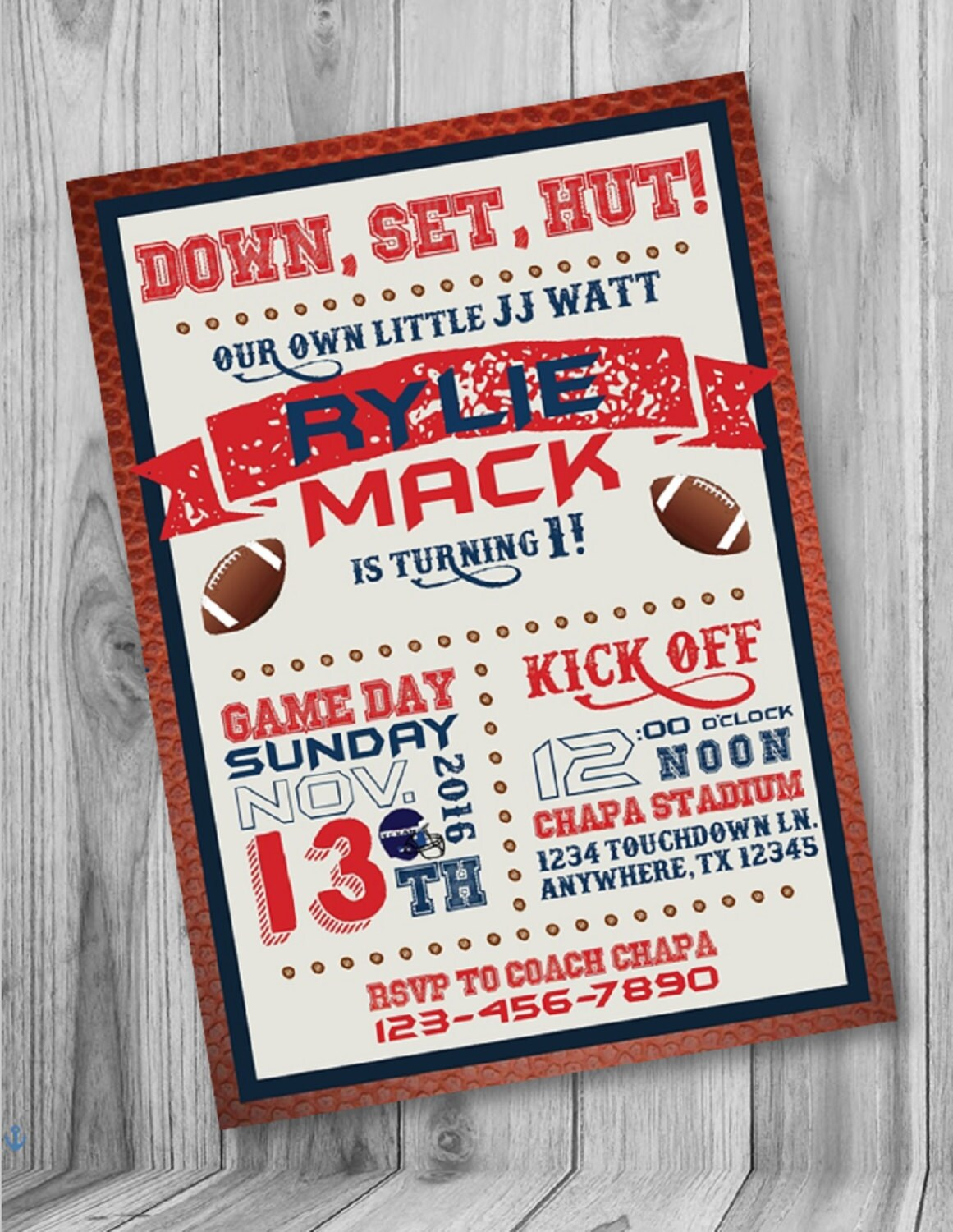 ON SALE Football Birthday Party Invite Houston Texans Party