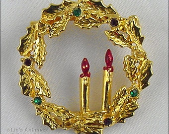 Eisenberg Ice Christmas Wreath Pin,Gold Tone Wreath Shaped Pin,Eisenberg Wreath Pin With Holly Leaves and Two Candles in Center  (Inv #J884)