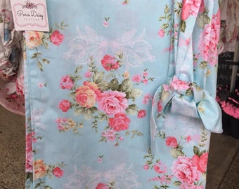 Luxury Floral Cotton Wrap Blue Flora with matching headband