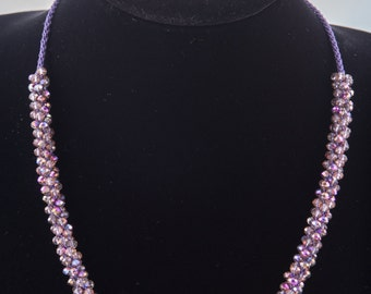 Purple Coated Faceted Crystal Necklace