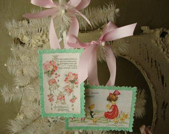 Easter ornaments glittered tags cute victorian girl chicks flowers pink and mint green party favors gift tags shabby cottage chic