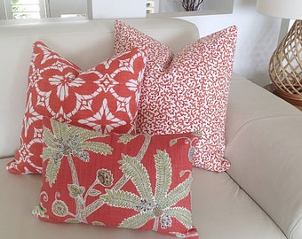 Coral Cushions Coral Pillows Coastal Cushion Covers, Palm Tree Pillows Scatter Cushions Decorative Piillows
