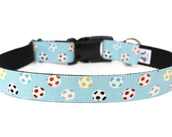 """Soccer Dog Collar 1"""" Blue Soccer Ball Dog Collar"""