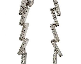 Danging Earrings Drop Earrings Diamonds In Hanging Earrings In 14k White Gold