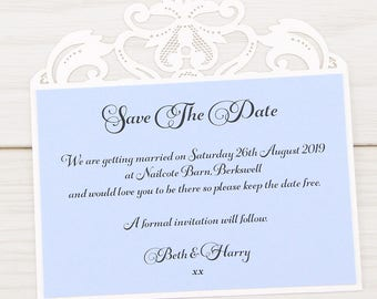 SAMPLE * Farrah Laser Cut Save The Date. Farrah Wedding Range
