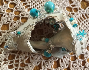 Turquoise seashells, beads, wire  wrapped, handmade shells