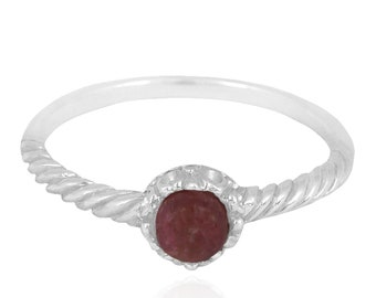 Rhodonite Sterling Silver Solitaire Ring