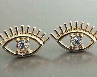 Evil Eye Earrings - Gold Earrings - Crystal Earrings - Stud Earrings - Boho Earrings - Eye Earrings