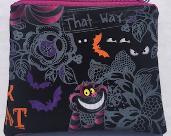 Cheshire Cat Zipper Pouch: Alice in Wonderland, Trick or Treat.