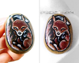 Fox Necklace, Wildlife Jewelry, Red Fox, Nature Pendant, Nap Time, Hand Painted Pebble Art, Gift for Her, Forest Animal Painting