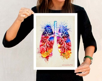 "Watercolor Lungs, 11"" x 14"", Anatomy Medical print, Registered Nurse Gift, Nurse Graduation gift, Watercolor Splatter art, Anatomy Lungs Art"