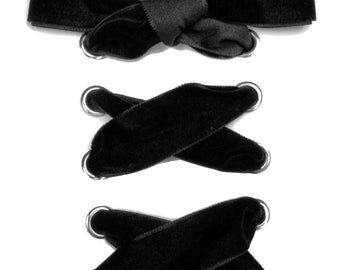 "THE SHOELACES SHOP-Black Velvet Ribbon Shoelaces, Ribbon Shoe Laces, Black Shoelaces, Velvet Shoelaces, Boot Laces, Plush, ""Blackout"""