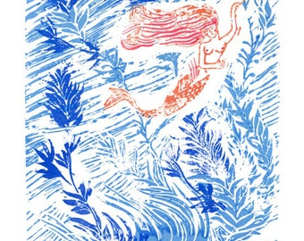 """Linocut Hand Print """"The Current"""""""