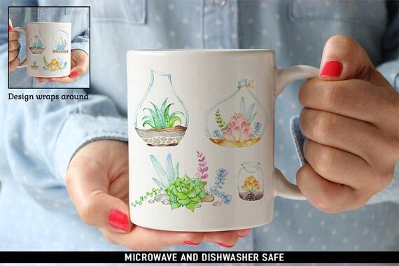 Coffee Mug Succulents Coffee Mug  - Beautiful Watercolor Floral Mug