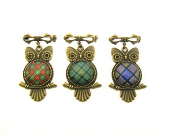 Scottish Tartan Jewelry Tartan Brooch CHOICE OF ONE Bruce Hunting Urquhart or MacDonald Ancient or Custom Tartan Sweet Baby Owl 20mm Brooch