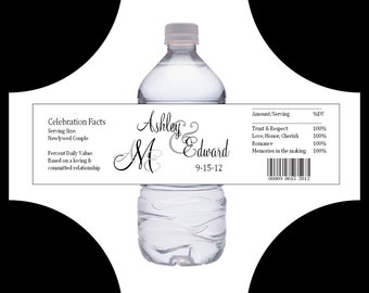 100 Monogram water bottle labels - Wedding favors- monogrammed