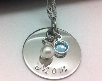 Personalized Mother Day  Keepsake Necklace with Birthstone and Pearl