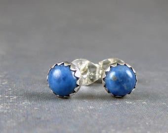 Lapis stud earrings, lapis lazuli post earrings, denim Blue Lapis studs, denim blue, denim earrings, blue gemstone earrings, casual earrings