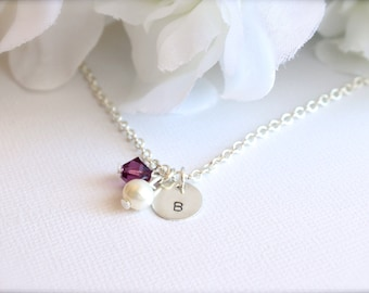 Sterling Silver Initial Real Pearl Personalized Hand Stamped Girls Necklace, Flower Girl Gift, Girls Charm Necklace