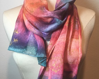 Celestial rainbow magical hand painted silk satin scarf, gold floral, hand woodblock printed scarf, textured abstract scarf with gold detail