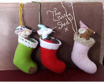 Sleepy Stocking Mice Felt Sewing Pattern The Wishing Shed PDF files Cute Mouse Teddy 3D - kit
