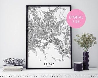 La Paz, Bolivia City Map Print Wall Art | Print At Home | Digital Download File