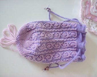 Beaded Victorian Reticule Purse Bag in mauve, lilac,  violet, Eight Pointed Star, Beaded Tassel and Drawstring Romanian cord Handle