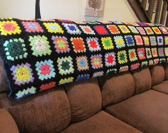 "vintage granny square afghan/blanket /throw,Roseanne show throw,Big Bang ,sofa afghan,65"" long X 52"" wide,colorfull afghan,boho ,ship today,"