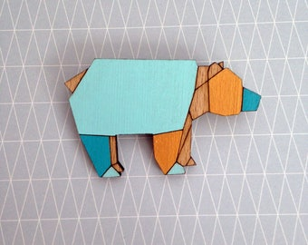 Wooden origami bear brooch - bear brooch - geometric brooch - bear jewellery - wooden jewelry, wooden jewellery, handmade brooch