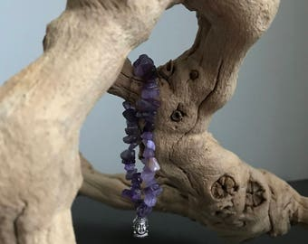 Amethyst Bracelet with Buddha Charm (Silver Plated)