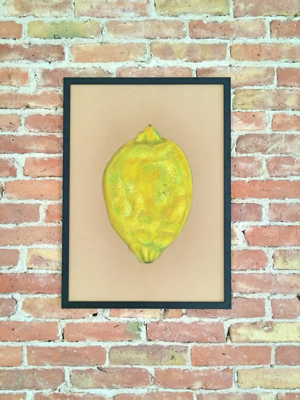 Lemon Original Art Fruit Wall art Kitchen decor Fruit