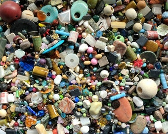 Beads for Jewelry Making - Beads in Bulk - Destash Supply Assorted Random Mixed Large & Small Mystery Lots - Bead Soup - 1/4 or 1/2 pounds