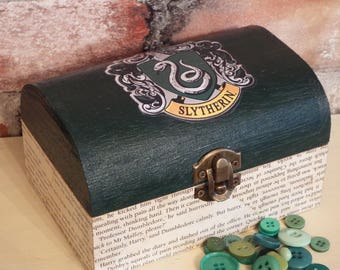 """FREE POSTAGE Harry Potter inspired Slytherin trinket, jewellery box """"Aged"""" book pages. Potterhead gift"""