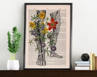 Human anatomy art, Wild flowers on my legs .Art  Print Gift Print wall art wall decor Wall Hanging poster SKA096