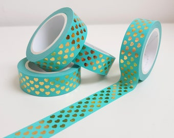 Pretty Gold Foiled Heart Blue Washi Tape