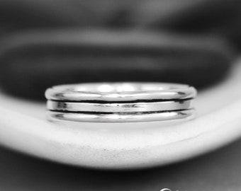 Layered Wedding Ring - Sterling Silver Wedding Band Women - Geometric Wedding Ring - Minimalist Bridal Ring - Simple Band Ring - Bridal Band