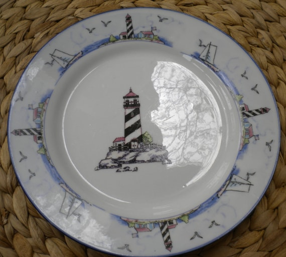 & Coastal Lighthouse by Totally Today 7 5/8 Salad Plate