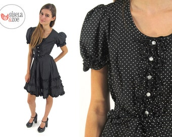 Vintage 70s Square Dance Tuxedo Polka Dot Dress Puff Sleeves Ruffle Trim Full Skirt Dress / md