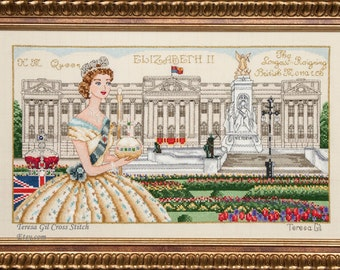 Queen Elizabeth II Long Reign- Buckingham Palace London Historical style Counted Cross Stitch Chart Pattern Instant Download