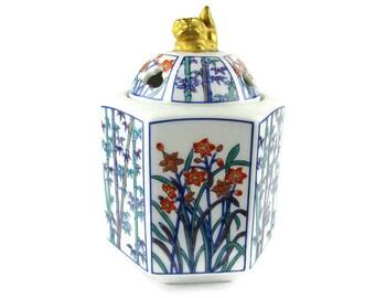 Japanese Hexagonal Incense Burner/ Fo Dog Finial Censer/ Bamboo Stalks & Flowers /  Arita Porcelain / Ceramic Fu Dog Dome Lid