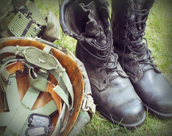Soldier's Gear - Photograph - Army Boots - Army Helmet - Dog Tags - War Photography - Vintage Military Images - 8x10