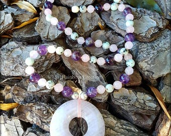 Rose Quartz, Amethyst and Kiwi Jasper Necklace with Sterling Silver and Rose Quartz Donut