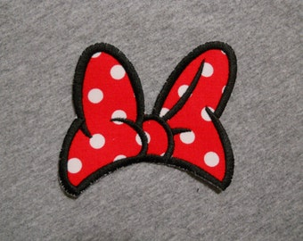 Made to order ~ Miss Mouse Red Bow iron on or sew on applique patch