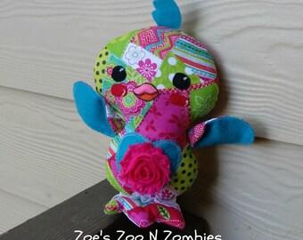 Handmade Love Bird Stuffie, Chick Cloth Doll, Bright Neon Bird