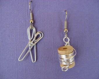 Boucles d'oreilles couture fil enveloppé exempt de nickel